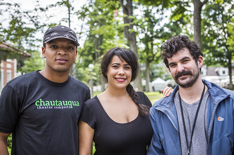 Myles Bullock, Keren Lugo and John Bambery are three of Chautauqua Theater Company's 13 conservatory actors in 2015. They and their colleagues will present the annual Bratton Late Night Cabaret at 10:30 p.m. tonight in Bratton Theater. (Joshua Boucher   Staff Photographer)
