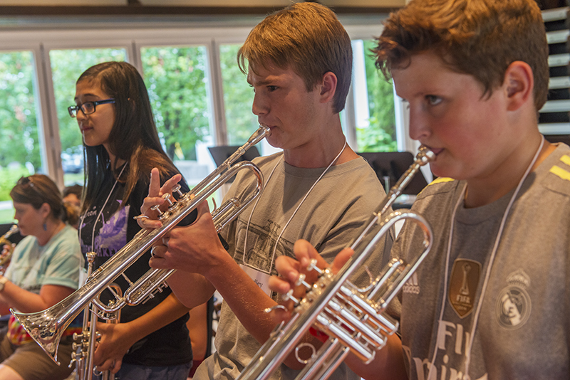 "Chautauqua Music Camp students Sophia Weng, Bradley Belmondo and Aiden Magley play ""Kansas City"" by Jerry Leiber and Mike Stoller Tuesday in the Carnahan-Jackson Dance Studio. (Joshua Boucher 