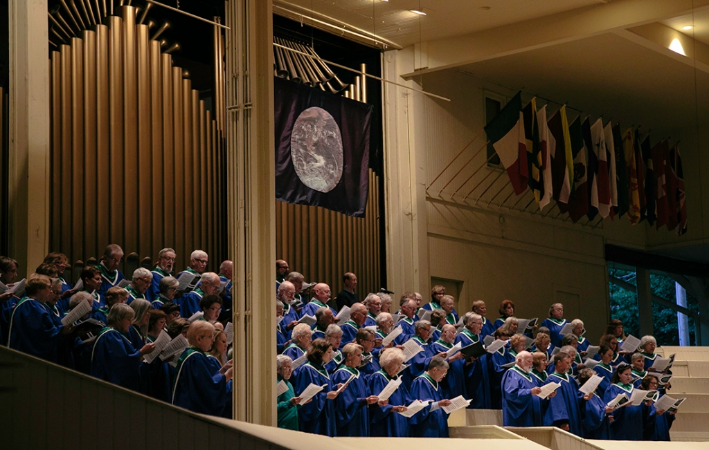 "Members of the Chautauqua Choir sing ""Praise to the Lord Almighty"" during the season-opening Sacred Song Service June 28. (Saalik Khan 