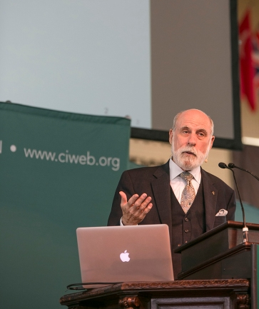"Vint Cerf, Vice President and Chief Internet Evangelist at Google Inc speaks at the Amphitheater on Tuesday morning. Cerf opened up this weeks theme ""Vanishing"" His lecture was titled ""The internet, Then, Now and Tomorrow"