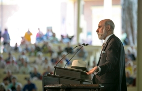 "Vint Cerf, Vice President and Chief Internet Evangelist at Google Inc speaks at the Amphitheater on Tuesday morning. Cerf opened up this weeks theme ""Vanishing"" His lecture was titled ""The internet, Then, Now and Tomorrow. (Photos by Saalik Khan)"
